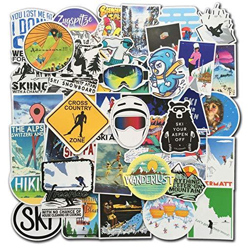 BLOUR 70 Stück/Set Winter Ski Aufkleber Skifahren Schnee Berg Pinguin Graffiti Aufkleber Pack Für Gepäck Laptop Kühlschrank Snowboard Ski Aufkleber