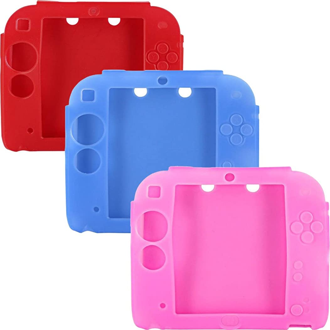 3Packs Protective Soft Silicone Rubber Gel Skin Case Cover for Nintendo 2DS (BU+RE+PI)