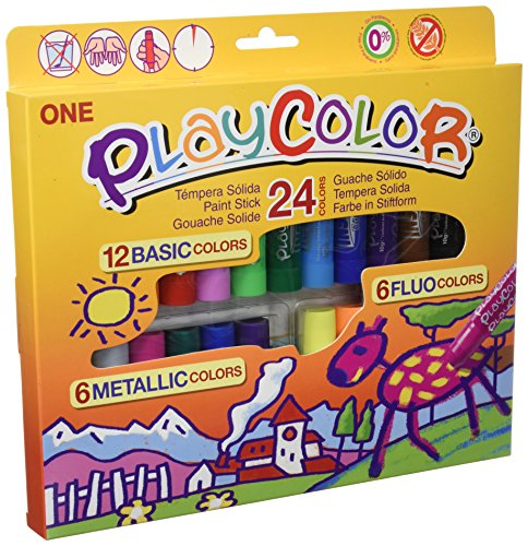 Playcolor 2041 - Estuche de 24 colores de témperas sólidas, color