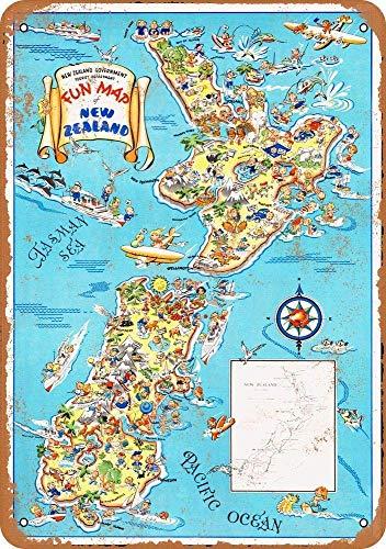 niet leuk kaart van Nieuw-Zeeland Metalen tin teken schilderij decoratie Populaire IJzeren Schilderij Poster Voor bar cafe eetkamer huis club