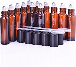 Essential Oil Roller Bottles - Amber 10 ml Perfume Bottles with Stainless Steel Roll Ball, 2 Funnels Include, 12 PCs Set - Perfect for doTerra and Young Living Oil, Suitable for Travel and Home