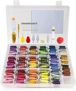 Sticktwist Kreuzstichgarn, 110 Farben, Stickgarn mit Organizer Aufbewahrungsbox und 50 Stück Kreuzstich-Werkzeuge