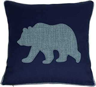 Navy Cotton Pillow Case Decorative Bear Pillow Cover for Sofa Cushions Covers 18x18 Inches (Navy)