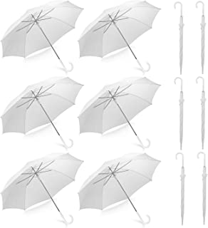 Pack of 12 Wedding Style Stick Umbrellas Large Canopy Windproof Auto Open J Hook Handle in Bulk (Pearl White)
