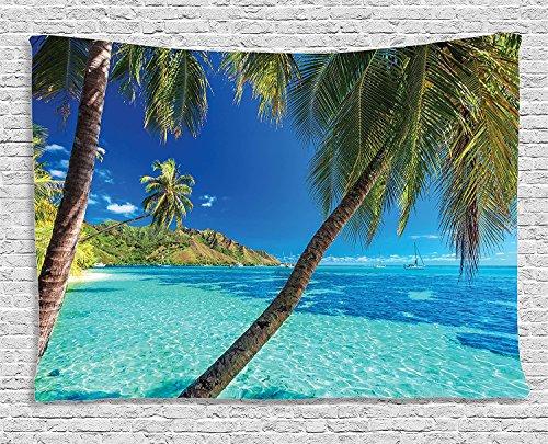 GUDOJK Tapijten Ocean Decoratieve Tapijtafbeelding van een tropisch eiland met palmen en lichte zeestrand Hema-Print Decoratieve Wandbehang voor slaapzaal 130cmx150cm