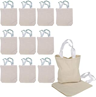 Kicko Blank Canvas Tote Bag 8.75 X 8.25 X 2.5 Inches - 12 Pieces - Color Beige - Durable Reusable Bags - Travel and to go ...