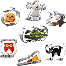 Thanksgiving Christmas Cookie Cutters-SYSAMA 7-Piece Stainless Steel Basics Cookie Cutters Set with Pumpkin, Bat, Ghost, Owl, Cat, Witch, Broom