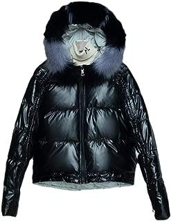 Womens Warm Casual Long Sleeve Winter Warm with Fur Hood Zipper Short Down Outwear Coat