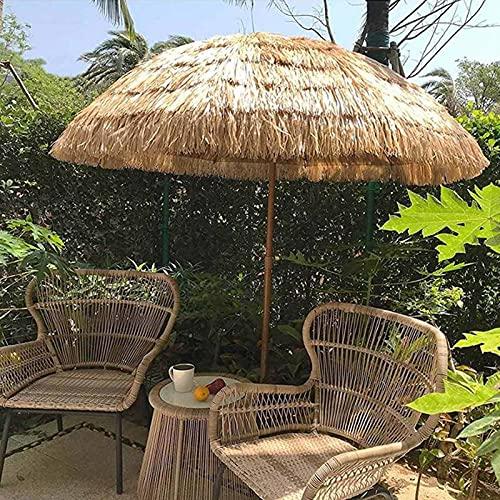 Portátil Parasol de Playa Sombrilla Paja Hawaii con Mecanismo de Inclinación Altura Ajustable para Jardín Césped Vacaciones Toldos Ø2m