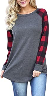Womens Raglan Shirts Long Sleeve Crew Neck Plaid Sweatshirts Fall Tunic Casual Tops