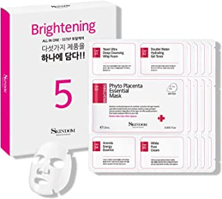 Skindom Brightening & Hydrating Korean Facial Sheet Mask Packed with Full Skin Care Steps, Face Wash, Toner, Face Mask She...