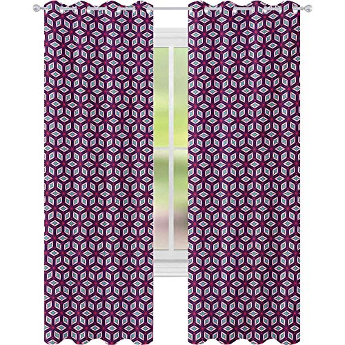 window curtains, Modern Simple Mosaic Composition with Diamond Shapes and Lines in Vivid Colors, W52 x L84 Window Curtains for Babys Room, Multicolor