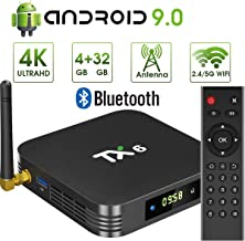 pendoo Android 9.0 TV Box, TX6 Android TV Box 4GB DDR3 32GB EMMC Dual WiFi 2.4G+5G Bluetooth Quad Core 3D 4K Ultra HD H.265 USB3.0 Android TV Box…