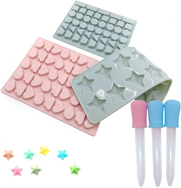 Silicone Candy Gummy Chocolate Molds With 3 Droppers MCHEN Mini Ice Cube Tray For Jelly Truffles Pralines Caramels Cake Decoration Blue Pink