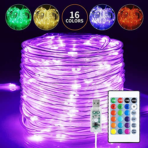 Led Schlauch 5mm, Infankey 10M 100 LED Lichtschlauch mit Fernbedienung &Timer,16 Farben 4 Modi Led Lichterkette,IP68 Wasserdicht, USB Lichterschlauch für Wohnzimmer, Deko, Party, Feier