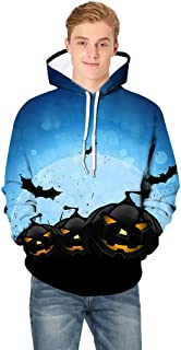 Holzkary Men's Horror Halloween Costume Funny Printed Party Hooded Pullover Tops Long Sleeve Sweatshirts Hoodies with Pockets