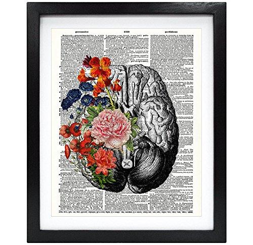 Susie Arts 8X10 Unframed Human brain with flowers Springtime Mind Vintage Upcycled Dictionary Art Print Book Art Print Home Decor Funny Art Print V099