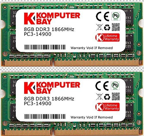 Komputerbay 16GB Dual Channel Kit 2x 8GB DDR3-1866 204pin SO-DIMM 1866 / 14900S (1.866 MHz, CL13) für Apple iMac 275K (Late 2015)
