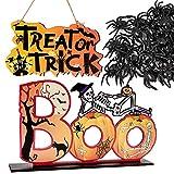 Juego de Decoración de Halloween Letrero Colgante Adorno de Mesa Arañas Pequeñas de Halloween Adornos Decorativos Hogar para Fiesta de Halloween