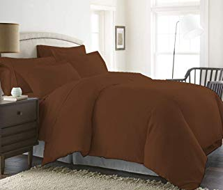 Best Luxury Linens Duvet Cover Set Oversized King 120'' x 98'' Size 3pc Duvet Cover Set with Zipper Closure & Corner Ties, Ultra Silky Soft Premium (100% Natural Cotton) 920 Thread Count -Brown Solid