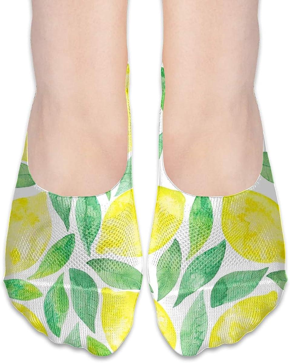 No Show Socks Women Men For Watercolor Lemon Summer Flats Cotton Ultra Low Cut Liner Socks Non Slip