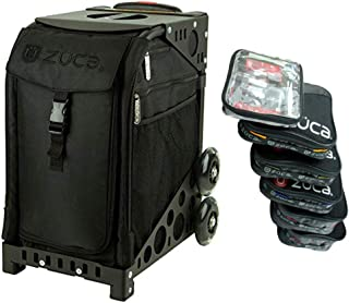 ZUCA Stealth Black Sport Insert Bag with Pro Packing Pouch Set of 5 Large and 1 Small Stacking Utility Pouches (Sport Frames Sold Separately)