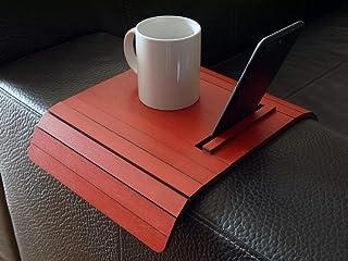 Mini tavolino laterale da bracciolo divano in legno con stand smartphone e tablet personalizzabile rosso rubino Piccolo va...