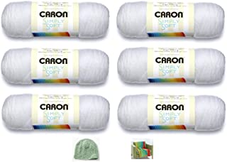 Caron Simply Soft Yarn - 6 Pack Bundle (with 3 Patterns) - White
