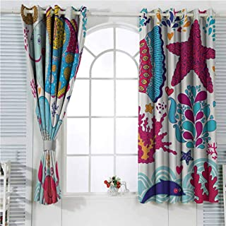Whale Decor Collection Black out Curtains for Bedroom Funny Fishes Starfish Coral Crab Underwater Life and Waves Marine Clipart Image Home Decor Sliding Door Curtains W96 x L107 Inch Blue Magenta