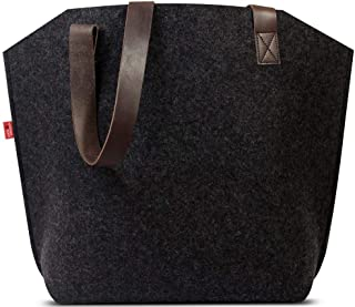Pack & Smooch York 100% Merino Wool Felt Tote Bag with Vegetable Tanned Italian Leather Strap