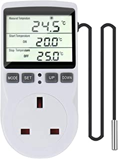 Furado Digital Temperature Controller, LCD Screen Heating Cooling Temperature Switch, 230 V Thermostat for Greenhouse Far...