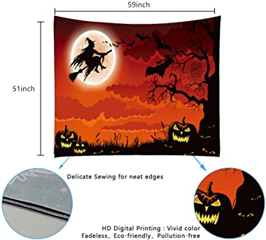 M maoav Tapestry Wall Hanging, Halloween Lovely Fun Witch Pumpkin Crow Wall Tapestry, Wall Art Decoration for Bedroom Living