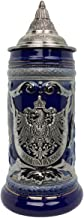 Beer Stein Deluxe Relief German Eagle Metal Medallion Cobalt Blue Beer Mug with Lid by E.H.G. | .75 Liter