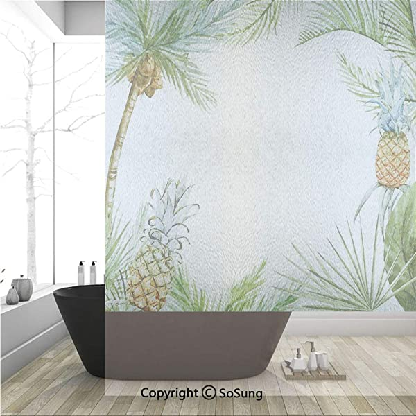 3D Decorative Privacy Window Films Watercolor Tropical Island Style Border Print Exotic Fruit Palm Trees And Leaves No Glue Self Static Cling Glass Film For Home Bedroom Bathroom Kitchen Office 36x48