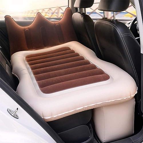 Auto Luftmatratze Bewegliche, Aufblasbares Beflockt Bett Rücksitz Verl erte Auto Kissen Reisen Für Kinder,braun