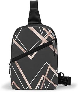 Paquete de pecho lineal negro de oro rosa Multipropósito Crossbody al aire libre bolsa de hombro mochila mochila de gran capacidad casual deporte mochila para senderismo viaje deporte
