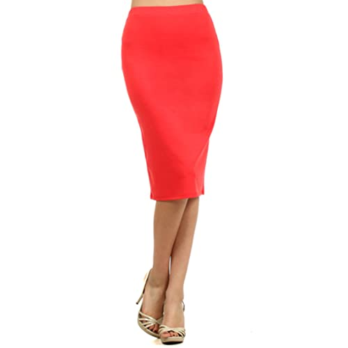 64ba2841b1 Women's Solid High Waist Band Bodycon Office Work Midi Stretchy Pencil Skirt/Made  in USA