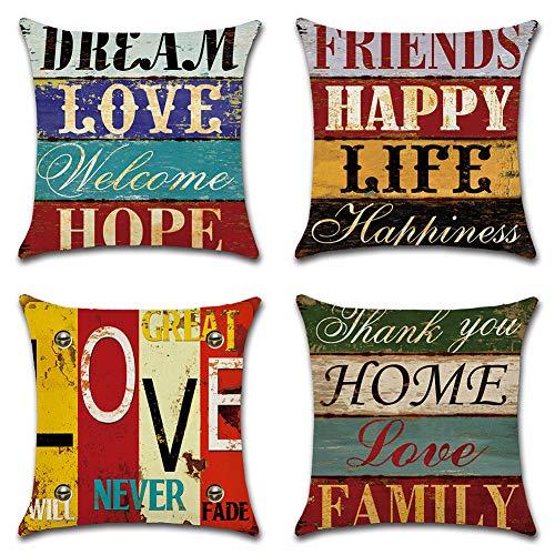 JOTOM Kissenbezug Baumwolle Leinen Retro Love Home Kissenhülle Taille Wurf Kopfkissenbezug für Zuhause und Sofa, Schlafzimmer Deko 45 x 45 cm(Liebe)