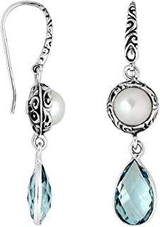 Bali Designs Sterling Silver Earring with Pearl & Blue Topaz AE-8009-CO1
