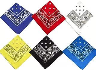 6 Colors Bandanas for Men and Women, Handkerchiefs for Men, Bandana Headband for Women, Paisley Cowboy Head Bandanas