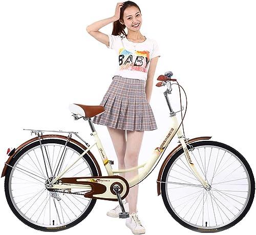24 '' fürrad für Frauen, Outdoor-fürrad aus Kohlenstoffstahl, Studentensportfürr r - beige