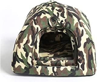 Removable Camouflage Dog House Winter Warm Pet Cat Bed Kennel Play Tent Machine Washable Nest for Small Dogs