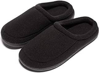 Apan Men's Winter Slippers Warm Memory Foam Woolen Fabric Indoor Outdoor Clog House Shoes(Size 6-16)