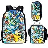 spArt Mochila escolar con estampado de anime Pikachu para niños y niñas, bolsa de hombro, lonchera, bolsa de lápices, juego de 3 piezas, Pikachu A6 (Multicolor) - sp-cgk