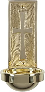 CB Church Supply Squared Holy Water Engraved Cross Font, 9 3/4 inch