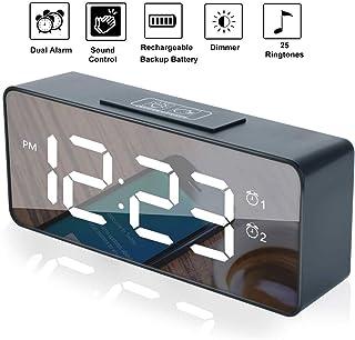 Rubik Digital Alarm Clock with Sound Control, Dual Alarms, 12/24 H, Snooze, 25 Alarm Ringtones, Adjustable Volume & Bright...