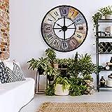 Grande orologio da parete vintage in stile retrò XXL in metallo anticato, grande stile shabby chic, numeri romani grandi per soggiorno, parete Ø 80 cm (metallo colorato)