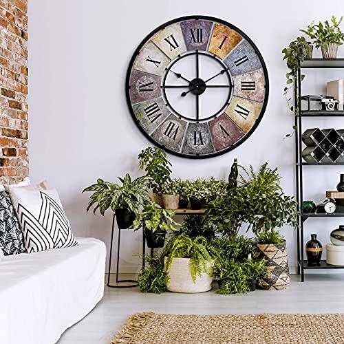 shabby orologio da parete Grande orologio da parete vintage in stile retrò XXL in metallo anticato