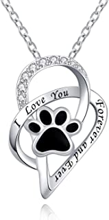 ACJFA Pet Lovers 925 Sterling Silver Paw Print Love Heart Pendant Necklace Animal Jewelry Puppy Paw for Women Gift