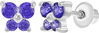 Rhodium Plated Purple Crystal Butterfly Screw Back Baby Earrings
